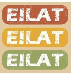 Vintage Eilat stamp set vector image
