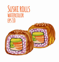 Watercolor style of sushi vector