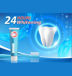 Whitening toothpaste advertising poster vector
