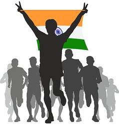 Winner with india flag at finish vector