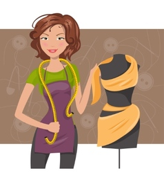 Woman seamstress near the manikin Dressmaker vector image