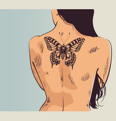 woman with tattoo butterfly tattoo on back vector image