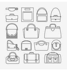 Bag thin line icons vector image