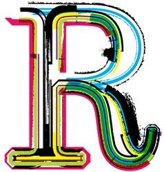 Grunge colorful font Letter R vector image vector image