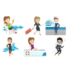 set of traveling people vector image vector image