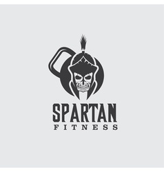 skull spartan warrior fitness design template vector image vector image