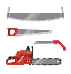 axeman instruments set hand saws carpentry tools vector image