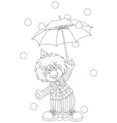 Clown with an umbrella vector image vector image