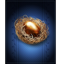 easter vintage background with a golden egg in the vector image vector image