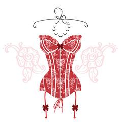 ladys sexy red vintage corset vector image vector image