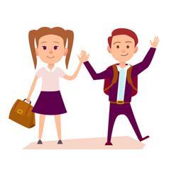 schoolboy and schoolgirl hold hands vector image vector image