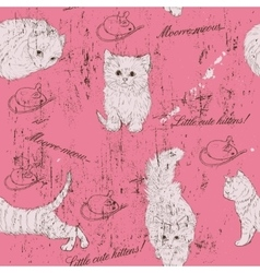 Vintage seamless texture with kittens vector image
