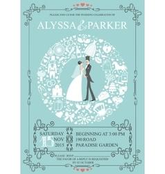 Wedding invitation with wreath compositionbride vector