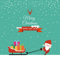 Abstract Christmas with Santa Claus and gift on vector image