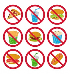anti-fast food signs vector image