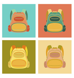 assembly flat icons fashionable bag vector image