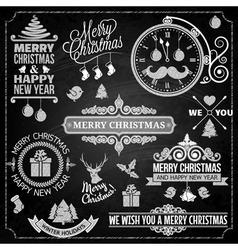 Christmas ornaments chalk set vector image vector image