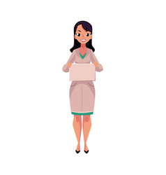 female doctor in medical coat holding blank sign vector image vector image
