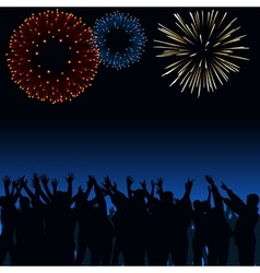 Fireworks and Crowd vector image