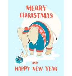 Funny Merry Christmas card with elephant wearing vector image vector image