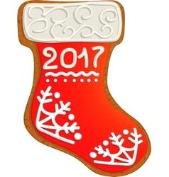 Gingerbread Christmas sock vector image vector image