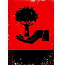 Hand holding a tree vector image vector image
