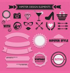 hipster feminine design elements set on pink dots vector image vector image