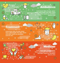medicine concept flat line art banner set vector image
