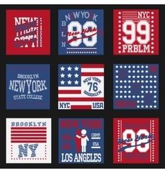 New york typography fashion set t-shirt vector image vector image
