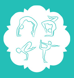 yoga and pilates poses silhouettes vector image