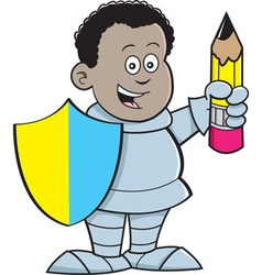 Cartoon African boy dressed as a knight vector image vector image