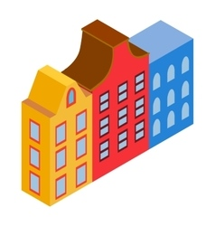 Colorful Amsterdam houses icon isometric 3d style vector image