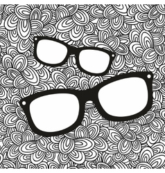 Doodle pattern with black and white glasses image vector image vector image