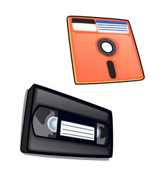 vintage cassette and diskette isolated vector image