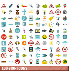 100 sign icons set flat style vector