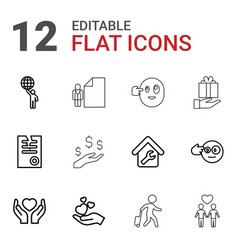 12 holding icons vector