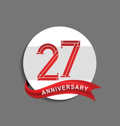27 anniversary with white circle and red ribbon vector