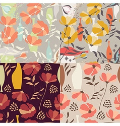 4 seamless patterns floral elements spring flowers vector