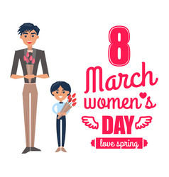 8 march womens day father son vector image