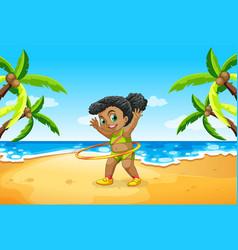 A girl play hula hoop at beach vector
