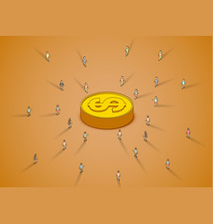 a group of people walking to dollar coin vector image