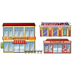 A supermarket night club and sport shop vector image