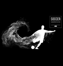 abstract silhouette of football player on black vector image