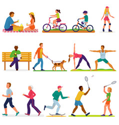 Active people woman or man character in vector