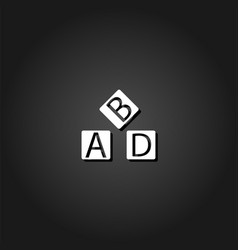 alphabet cubes icon flat vector image