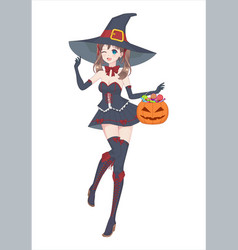 anime manga girl in a witch costume with a big hat vector image