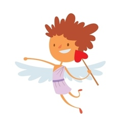 Baby cupid angel wings box with wedding ring vector