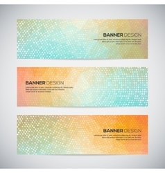 Banners with abstract colorful geometric dotted vector