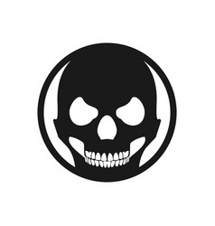 black circle skull death face symbol design vector image