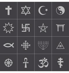 Black religious symbols set vector